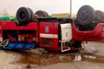 В Благовещенске перевернулся пожарный автомобиль